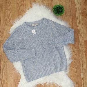 Loft Light Blue Knit Sweater XS NWT
